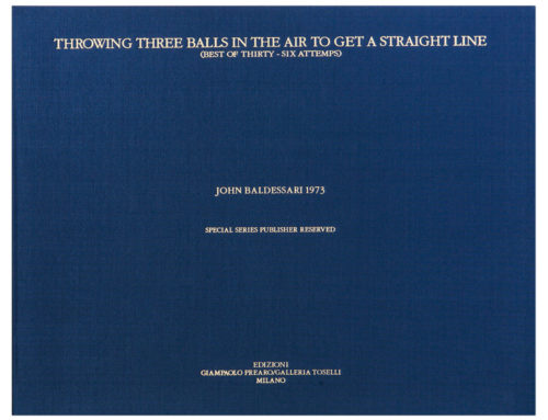 "John Baldessari""Throwing three balls in the air to get a straight line"""